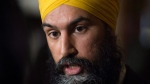 NDP leader Jagmeet Singh speaks with reporters following caucus on Parliament Hill in Ottawa, Wednesday January 31, 2018. THE CANADIAN PRESS/Adrian Wyld