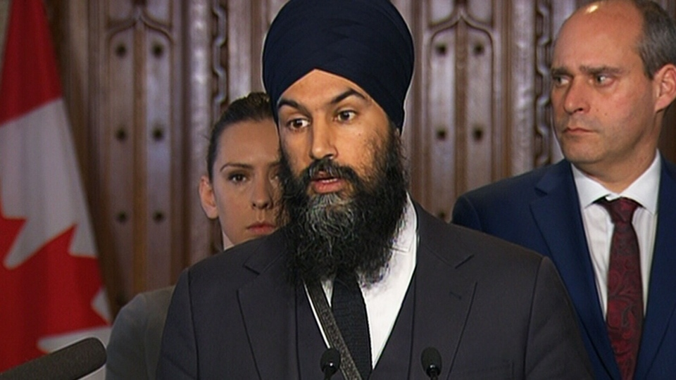 NDP Leader Jagmeet Singh speaks to the media on Feb. 1, 2018.