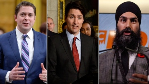Conservative Leader Andrew Scheer, Prime Minister Justin Trudeau, and NDP Leader Jagmeet Singh. (File photo)