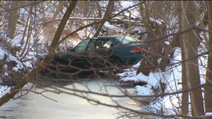 A mother is in serious condition after her car slid into a ditch in Toronto's east end on Friday morning. Two school-aged children who were in the vehicle at the time were unharmed. (CTV Toronto)