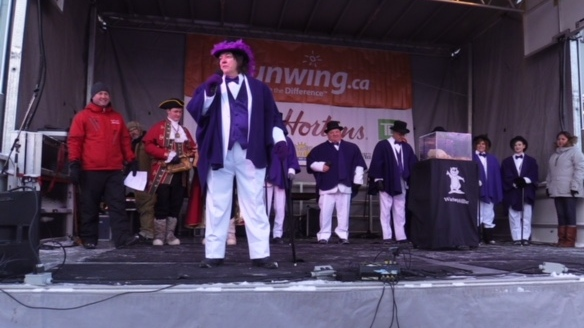 Wiarton Willie predicted six more weeks of winter at the annual festival in Wiarton, Ont. on Friday, Feb. 2, 2018. (Scott Miller / CTV London)