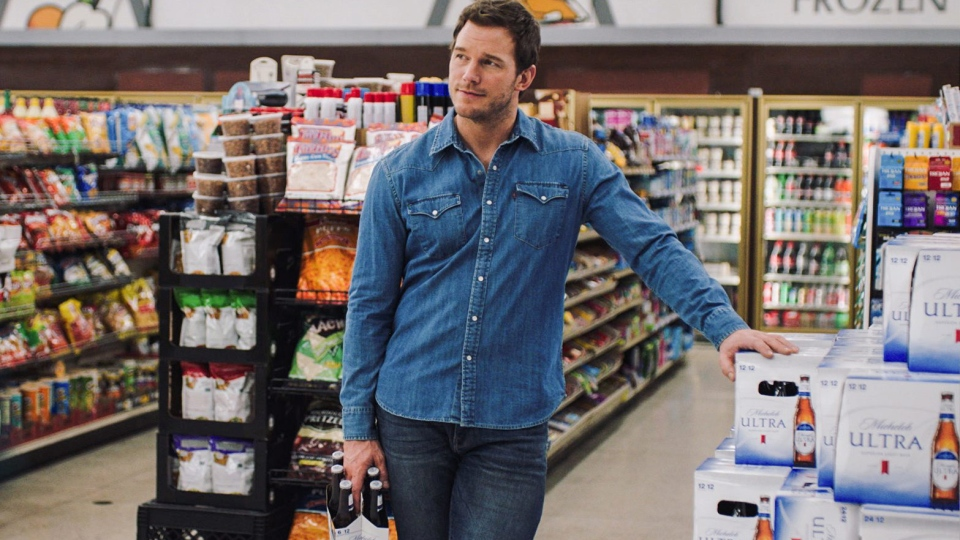 This image released by Anheuser-Busch shows actor Chris Pratt in a scene from a Michelob Ultra commercial to be aired during Sunday's Super Bowl. (Anheuser-Busch via AP)