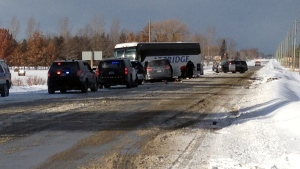 A bus crash on Highway 26 in Clearview Township, near Stayner, Ont., on Friday, Feb. 2, 2018. (Jim Holmes / CTV Barrie)