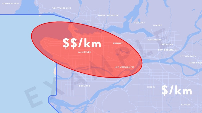 This maps shows one example of how mobility pricing could be applied in Metro Vancouver. (Mobility Pricing Independent Commission)