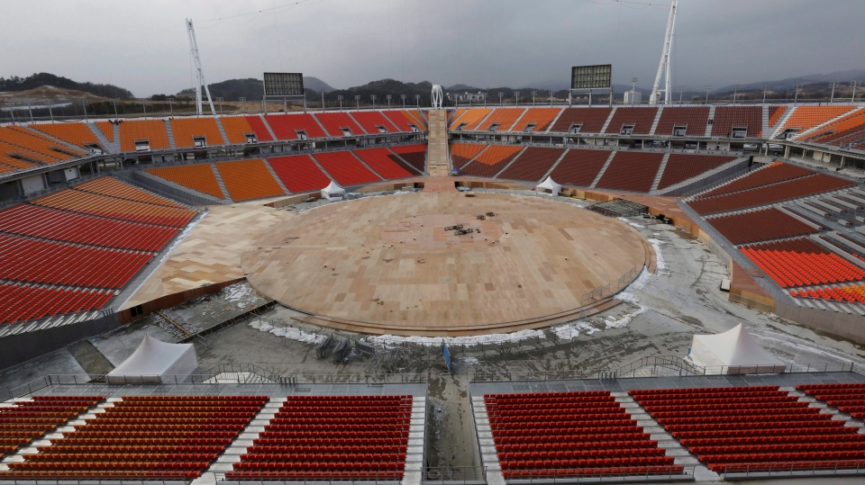 The Pyeongchang Olympic Stadium is under construction in Pyeongchang, South Korea, Saturday, Nov. 25, 2017. (Ahn Young-joon/AP Photo)