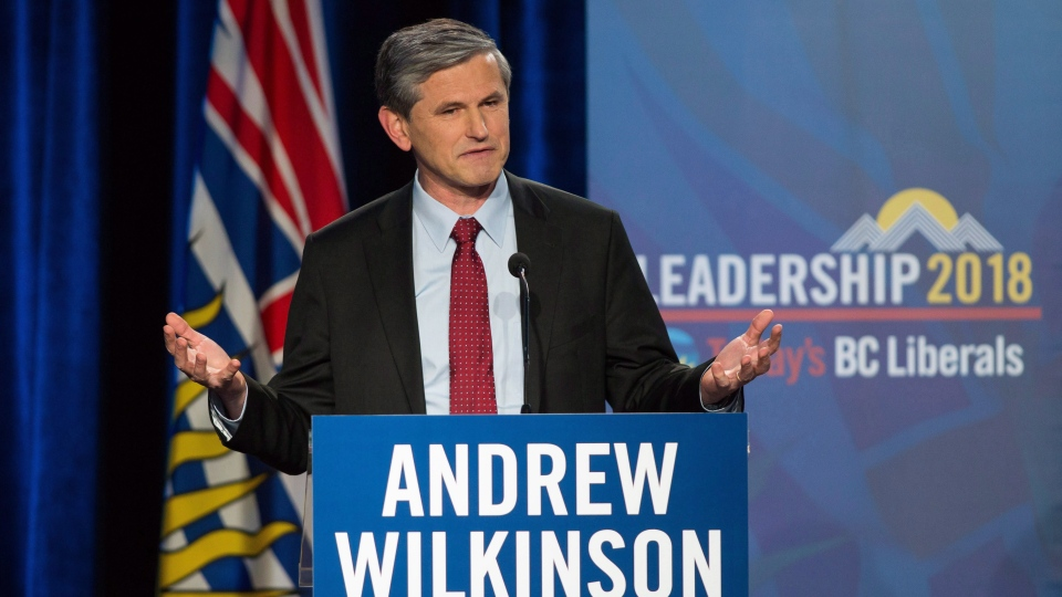 FILE -- Andrew Wilkinson speaks to the audience during the B.C Liberal Leadership debate in Vancouver, B.C., on Tuesday January 23, 2018. (THE CANADIAN PRESS/Ben Nelms)