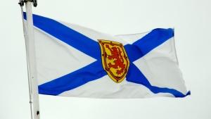 The provincial flag of Nova Scotia is shown.
