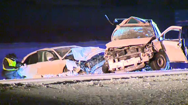 A woman was killed on Saturday night in one of over 200 crashes in the Calgary area due to inclement conditions.