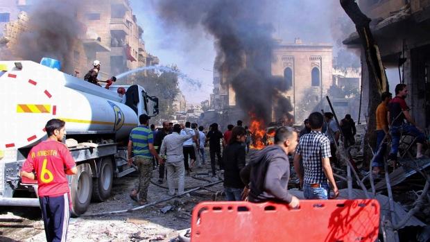 Airstrike hit a market in Maaret al-Numan, Syria