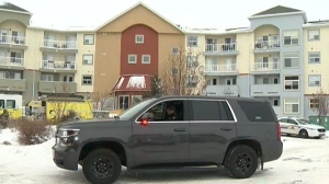 Authorities evacuated an apartment building in Airdrie on Sunday morning because of a carbon monoxide leak.