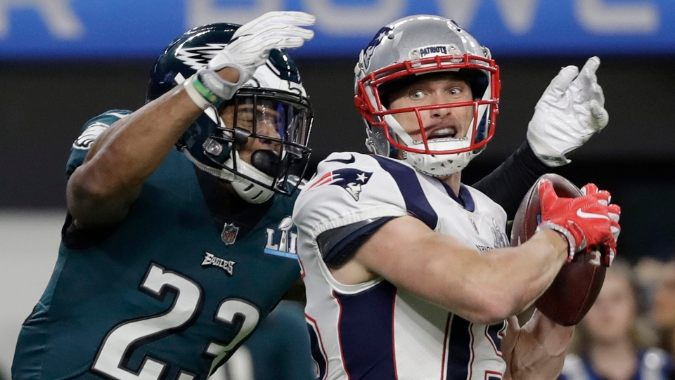 New England Patriots' Chris Hogan, right, catches a touchdown pass in front of Philadelphia Eagles' Rodney McLeod during the second half of the NFL Super Bowl 52 football game Sunday, Feb. 4, 2018, in Minneapolis. (AP Photo/Mark Humphrey)