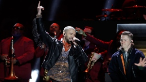 Justin Timberlake performs during halftime at the NFL Super Bowl 52 football game between the Philadelphia Eagles and the New England Patriots,Sunday, Feb. 4, 2018, in Minneapolis. (AP Photo/Charlie Neibergall)
