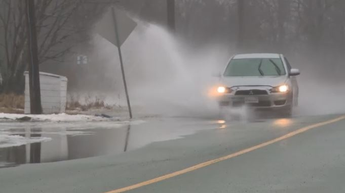 In Saint John, water was accumulating on city streets due to heavy rain on Feb. 5, 2018.