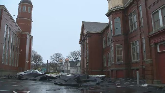 Strong winds blew part of the roof off of the Maritime Conservatory of Performing Arts, prompting the Halifax organization to close for the day on Feb. 5, 2018.
