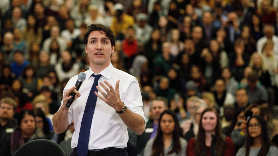 Prime Minister Justin Trudeau takes part in a town hall meeting in Edmonton on Thursday, February 1, 2018. The federal Conservatives are demanding Justin Trudeau apologize to veterans after the prime minister said some injured ex-soldiers are asking for more than the federal government can afford. THE CANADIAN PRESS/Jason Franson