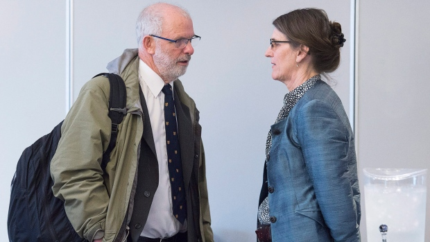 Lawyer Vince Calderhead talks with Claire McNeil