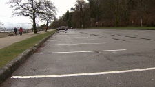 A parking lot is seen at Spanish Banks Beach Park in this image from Monday, Feb. 5, 2018.