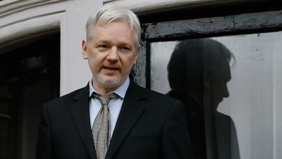 In this Feb. 5, 2016 file photo, WikiLeaks founder Julian Assange speaks from the balcony of the Ecuadorean Embassy in London.  (AP Photo/Kirsty Wigglesworth, File)