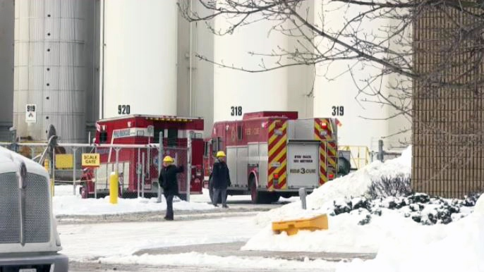 Fire crews work at Safety-Kleen in Breslau on Tuesday, Feb. 6, 2018.