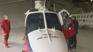 A helicopter air ambulance in Quebec used for transporting those requiring emergency medical care