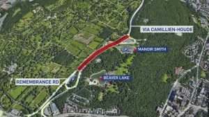 Through traffic on Camilliene Houde Way will be closed from June 2, until Oct. 31, 2018.