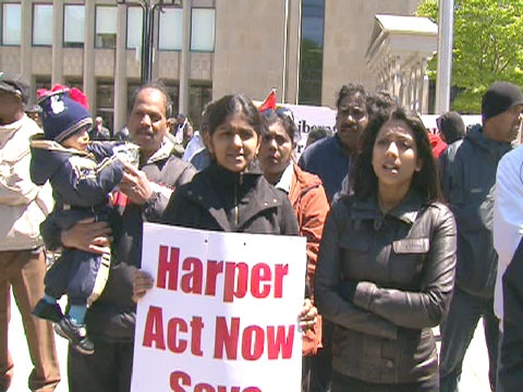 Tamil-Canadians say they won't stop pushing international powers to intervene in Sri Lanka even though a civil war there has ended.
