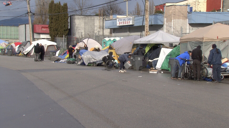"About 130 people live in tents on a section of 135A Street known as the ""Whalley Strip"" or simply, ""The Strip."""