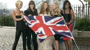 The Spice Girls pose for the photographers with a British flag on the grounds of the Royal Observatory in Greenwich, London on Thursday, June 28, 2007. (AP / Lefteris Pitarakis)