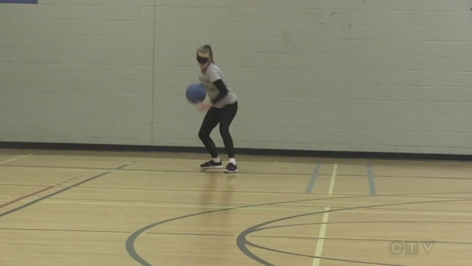 Goalball players wear eye shades to remove sight
