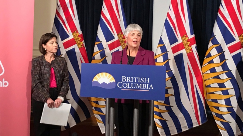 B.C. Finance Minister Carole James speaks to reporters in Victoria on Wednesday, Feb. 7, 2018. (Bhinder Sajan / CTV Vancouver)