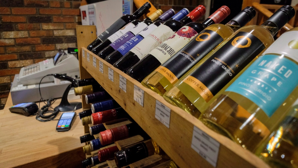 Bottles of British Columbia wine on display at a liquor store in Cremona, Alta., Wednesday, Feb. 7, 2018. (THE CANADIAN PRESS/Jeff McIntosh)