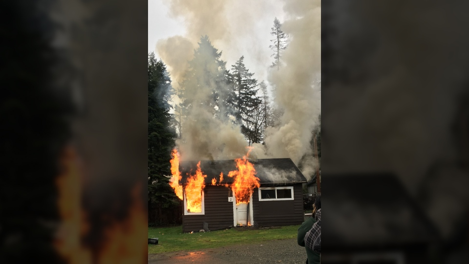 First responders were called after witnesses saw flames shooting from a home in the Glen Alder RV Park on South Island Highway. Feb. 7, 2018. (Courtesy Saje Kurpiela)