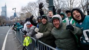 Fans line Benjamin Franklin Parkway