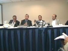 Members of SLUNA speak to the media about their side of the story regarding the civil war in Sri Lanka.