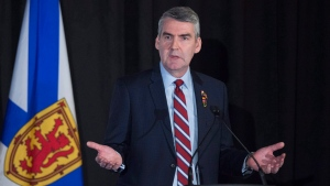 Premier Stephen McNeil delivers the state-of-the-province speech at a business luncheon in Halifax on Wednesday, Feb. 7, 2018. THE CANADIAN PRESS/Andrew Vaughan