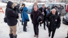 Defence attorney Scott Spencer, right, and his client Gerald Stanley enter the Court of Queen's Bench on the day of closing arguments in Stanley's trial in Battleford, Sask., Thursday, Feb. 8, 2018. Stanley is accused of killing the 22-year-old Indigenous man Colten Boushie. THE CANADIAN PRESS/Liam Richards