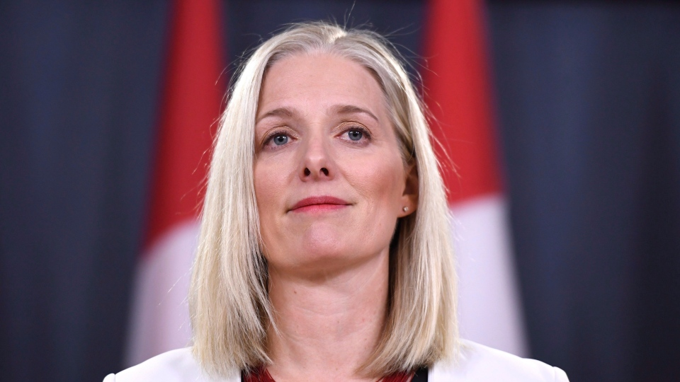 Minister of Environment and Climate Change Catherine McKenna arrives for a press conference on the government's environmental and regulatory reviews related to major projects, in the National Press Theatre in Ottawa on Thursday, Feb. 8, 2018. THE CANADIAN PRESS/Justin Tang