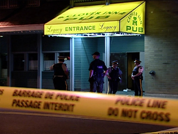 One man is dead and another is in critical condition after a shooting at a Cloverdale, B.C., hotel on May 17, 2009.