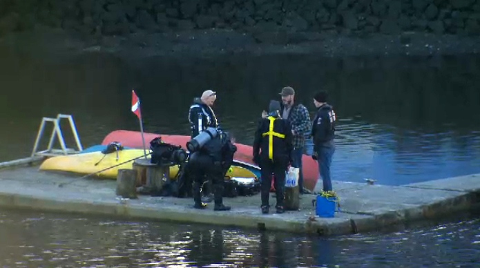 Police units including a dive team as well as search and rescue crews were seen in and around the Gorge Waterway, in connection with the disappearance of a 26-year-old man on the weekend. Feb. 8, 2018. (CTV Vancouver Island)