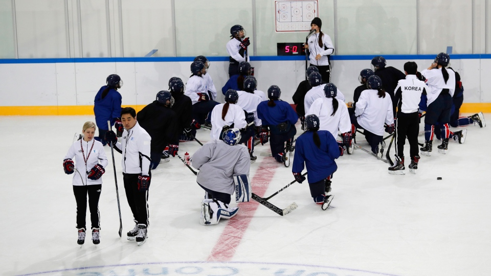 Members of the combined Koreas women's hockey team practice prior to the 2018 Winter Olympics in Gangneung, South Korea, Friday, Feb. 9, 2018. (AP / Frank Franklin II)