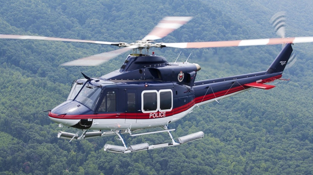 A Bell 412 helicopter flown by Bahrain Police Aviation is seen in a handout image from Bell Helicopter.