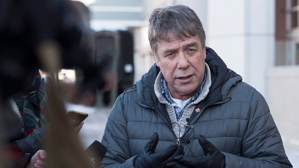 Former federal NDP MP Peter Stoffer talks to reporters to address sexual harassment allegations in Halifax on Friday, Feb. 9, 2018. (THE CANADIAN PRESS/Andrew Vaughan)