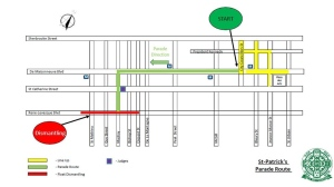 The new route for the St. Patrick's Parade.