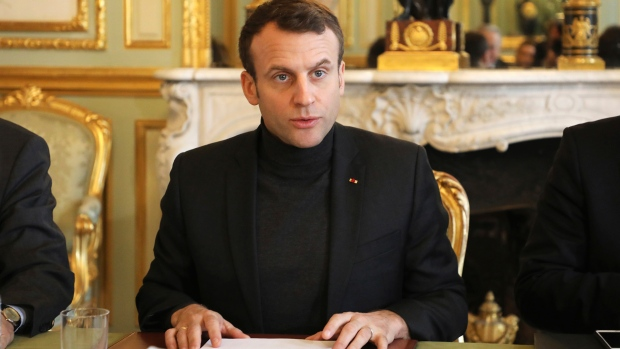 French president Emmanuel Macron speaks