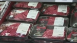packaged meat (beef) on store shelf