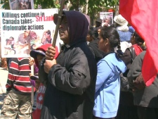 Thousands of Tamils crowded the sidewalk outside the U.S. Consulate on May 17, 2009.