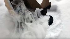 A microphone smokes in Jenn Wylie's yard