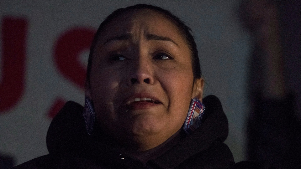 Jade Tootoosis, the cousin of Colten Boushie, speaks to media outside the Court of Queen's Bench in Battleford, Sask., on Friday, Feb. 9, 2018, after a jury delivered a verdict of not guilty in the trial of Gerald Stanley, the farmer accused of killing Boushie, a 22-year-old Indigenous man. THE CANADIAN PRESS/Liam Richards