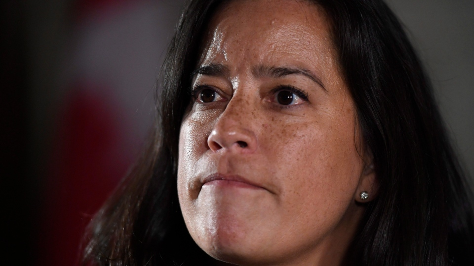 Minister of Justice and Attorney General of Canada Jody Wilson-Raybould listens to a question as she speaks to reporters following Question Period in the Foyer of the House of Commons on Parliament Hill in Ottawa on Wednesday, Feb. 7, 2018. (THE CANADIAN PRESS/Justin Tang)