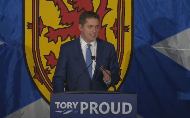 Progressive Conservative National Leader Andrew Scheer address the crowd at the Nova Scotia PC annual general meeting